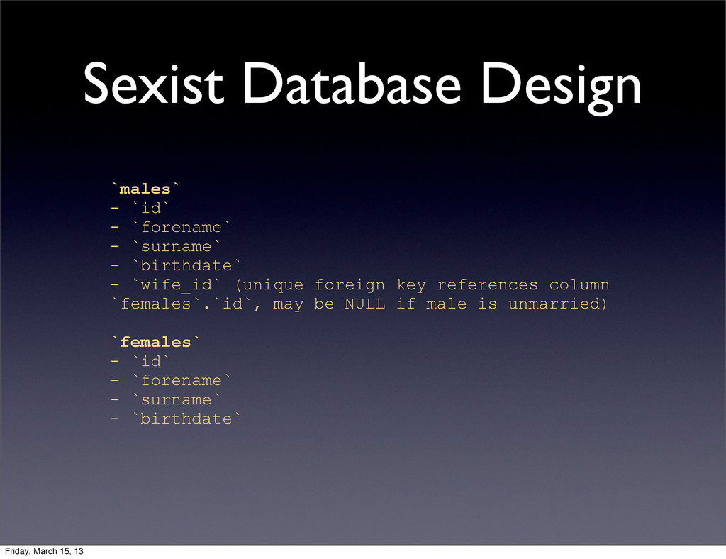 Sexist Database Design `males` - `id` - `forena...