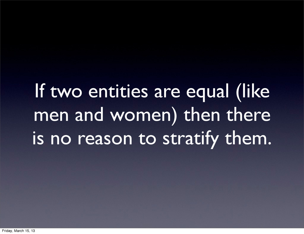 If two entities are equal (like men and women) ...