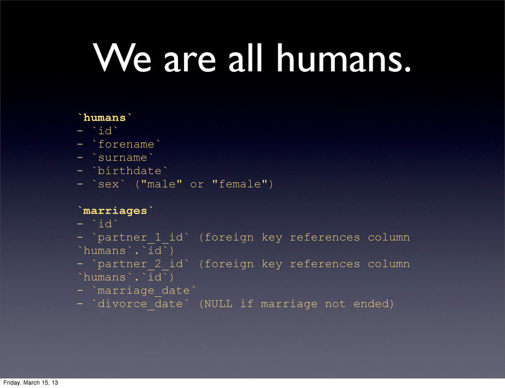 We are all humans. `humans` - `id` - `forename`...