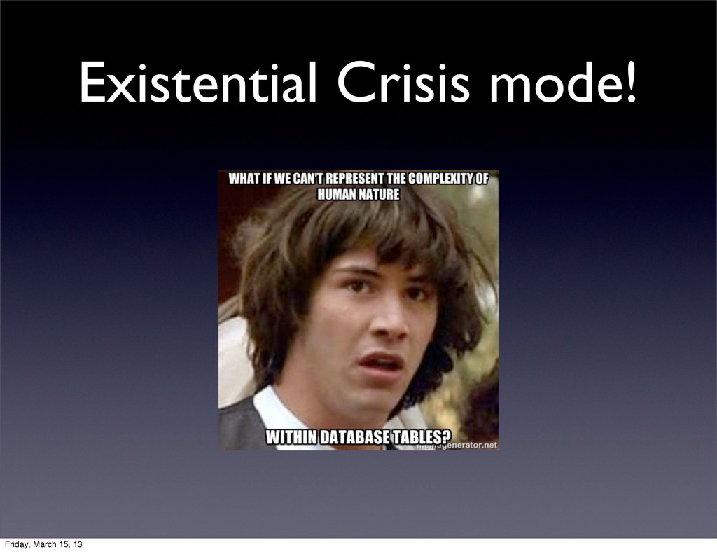 Existential Crisis mode! Friday, March 15, 13