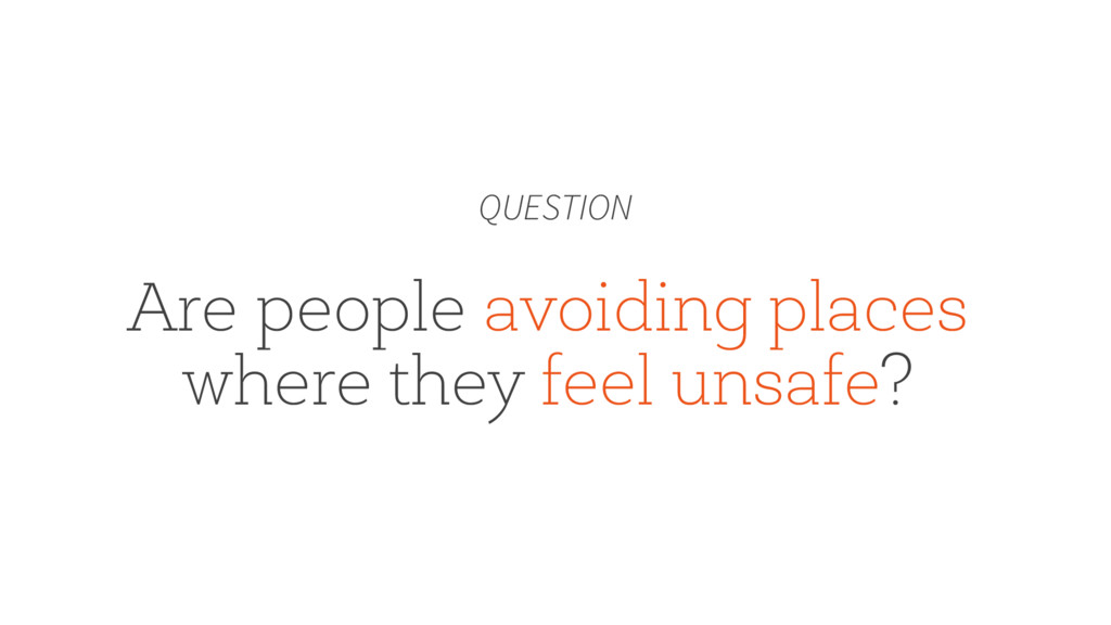Are people avoiding places where they feel unsa...