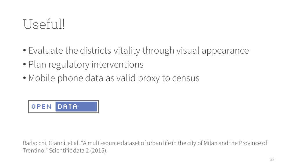 Useful! • Evaluate the districts vitality throu...