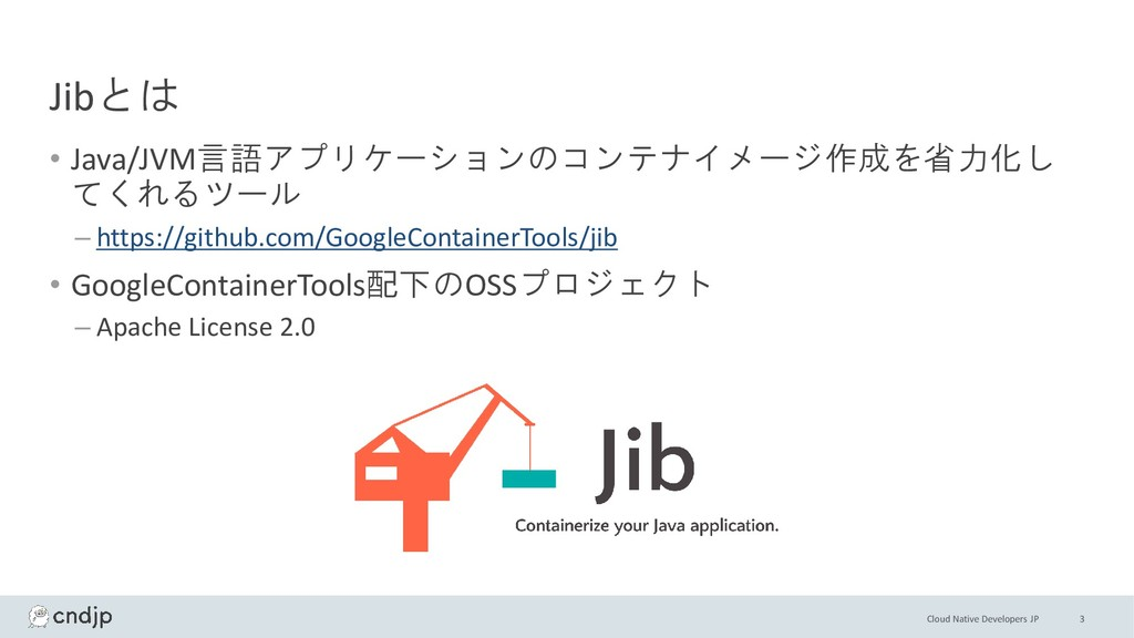 Cloud Native Developers JP Jibとは • Java/JVM言語アプ...
