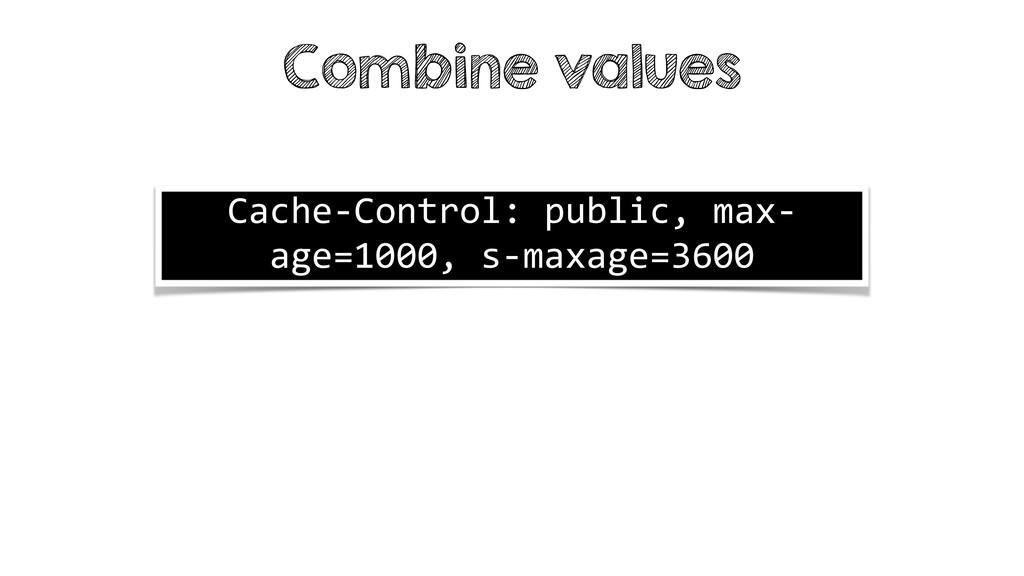 Combine values Cache-Control: public, max- age=...