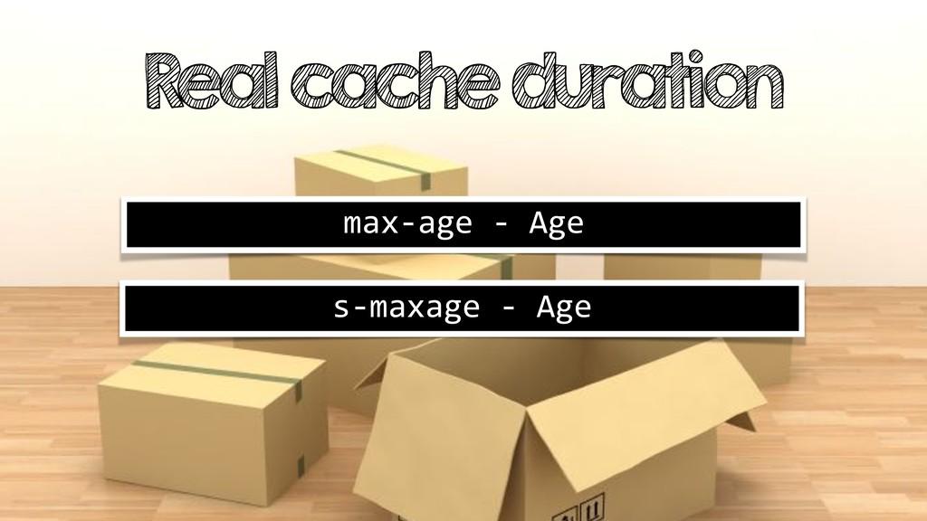 Real cache duration max-age - Age s-maxage - Age