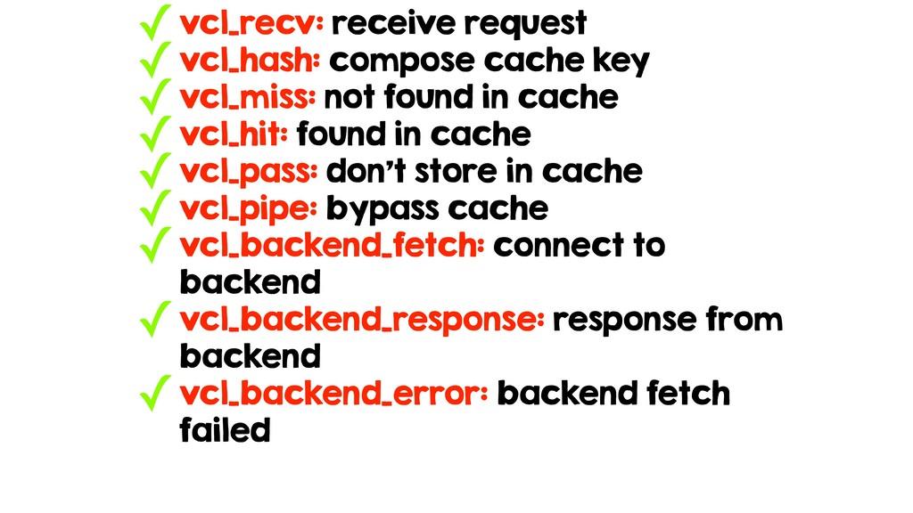 ✓vcl_recv: receive request ✓vcl_hash: compose c...