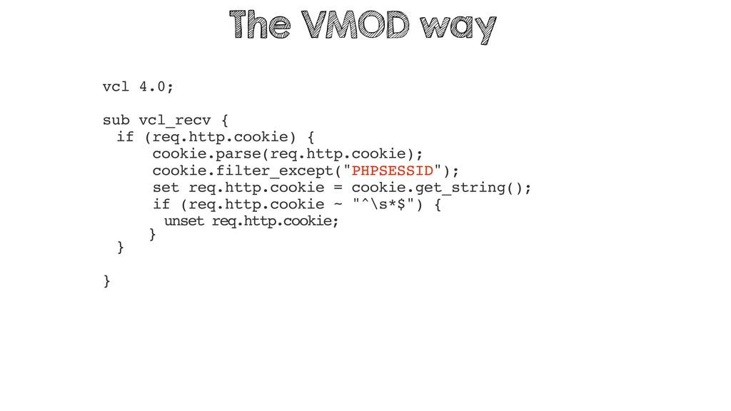 vcl 4.0; sub vcl_recv { if (req.http.cookie) { ...