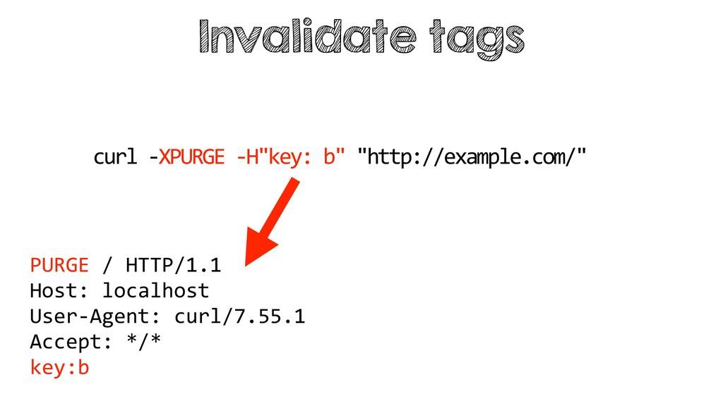 "Invalidate tags curl -XPURGE -H""key: b"" ""http:/..."