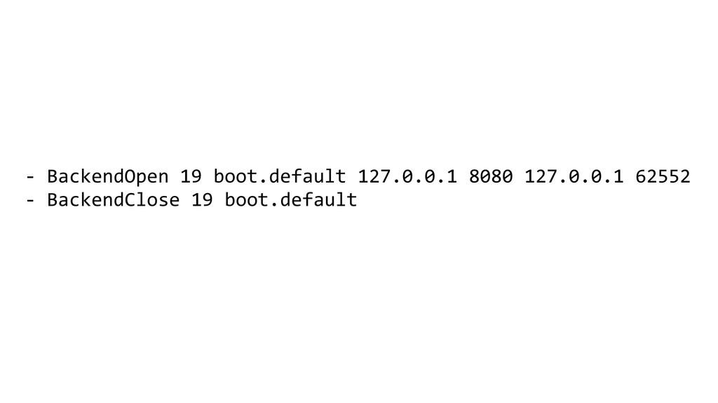 - BackendOpen 19 boot.default 127.0.0.1 8080 12...