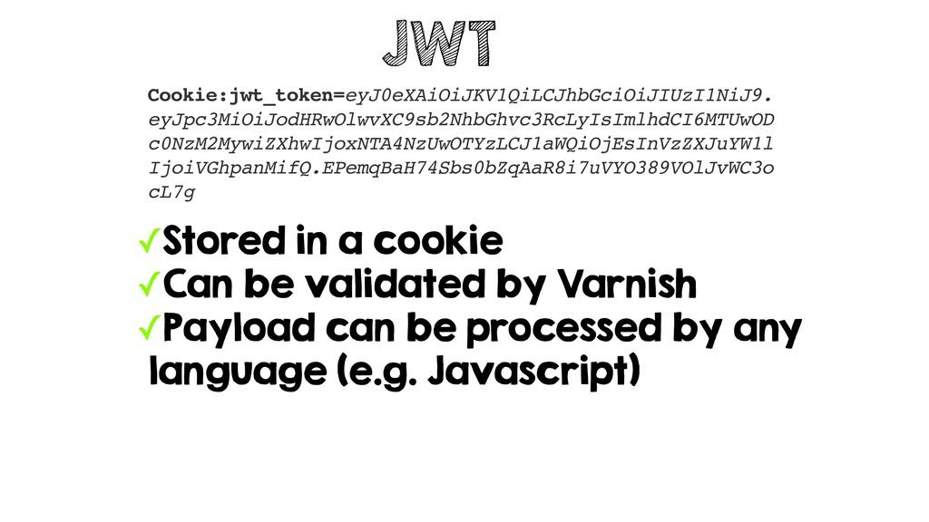JWT Cookie:jwt_token=eyJ0eXAiOiJKV1QiLCJhbGciOi...