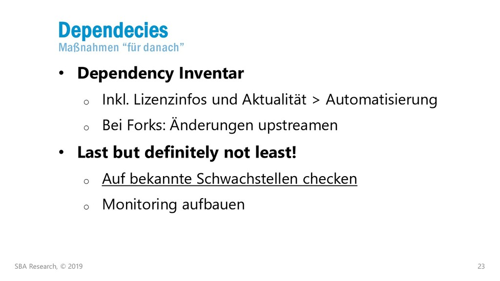 "23 Dependecies Maßnahmen ""für danach"" SBA Resea..."