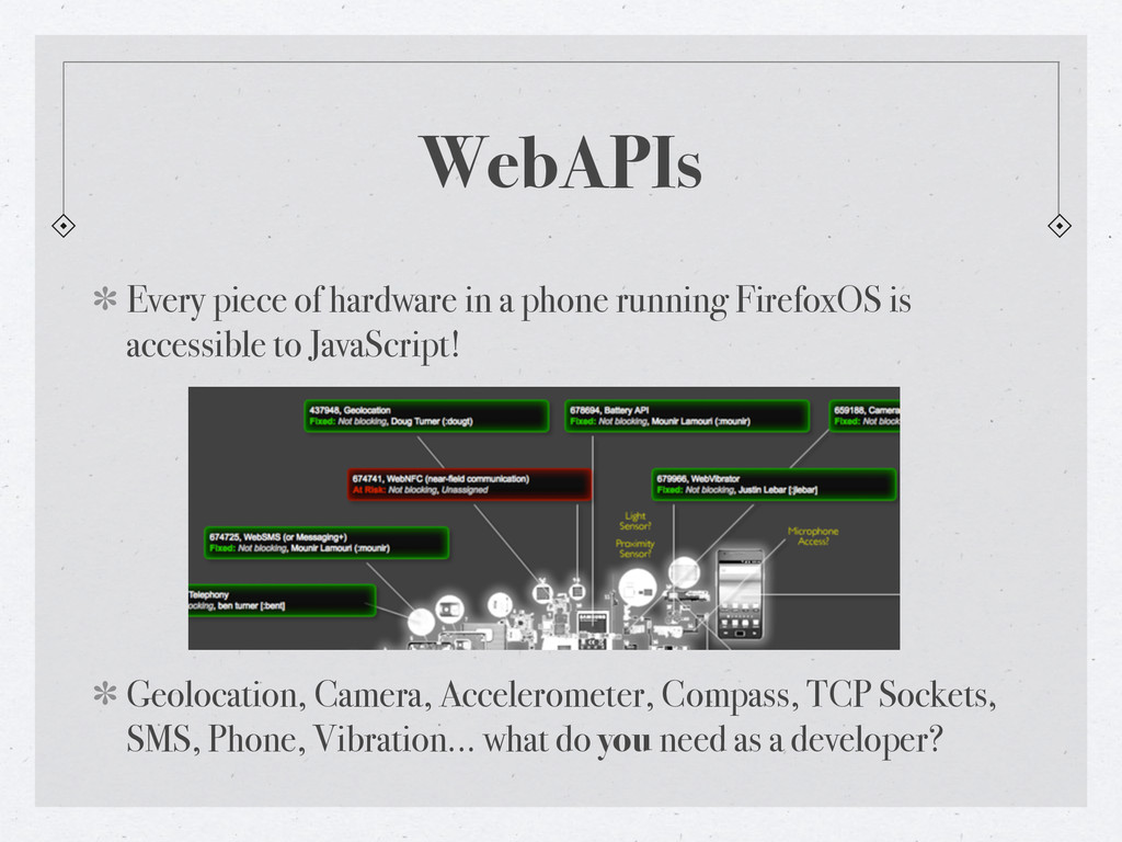 WebAPIs Every piece of hardware in a phone runn...