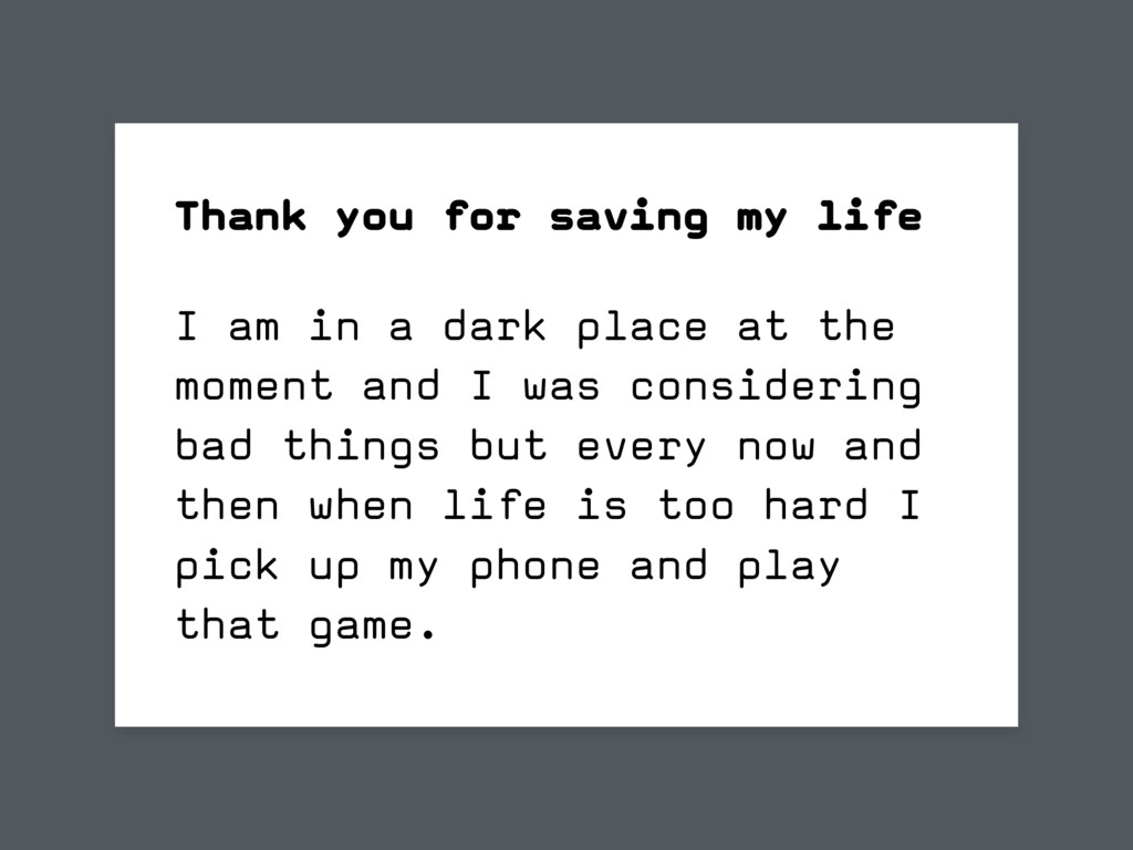 I am in a dark place at the moment and I was co...