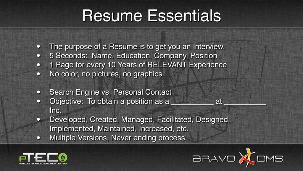 BRAVO DMS BRAVO DMS Resume Essentials • The pur...