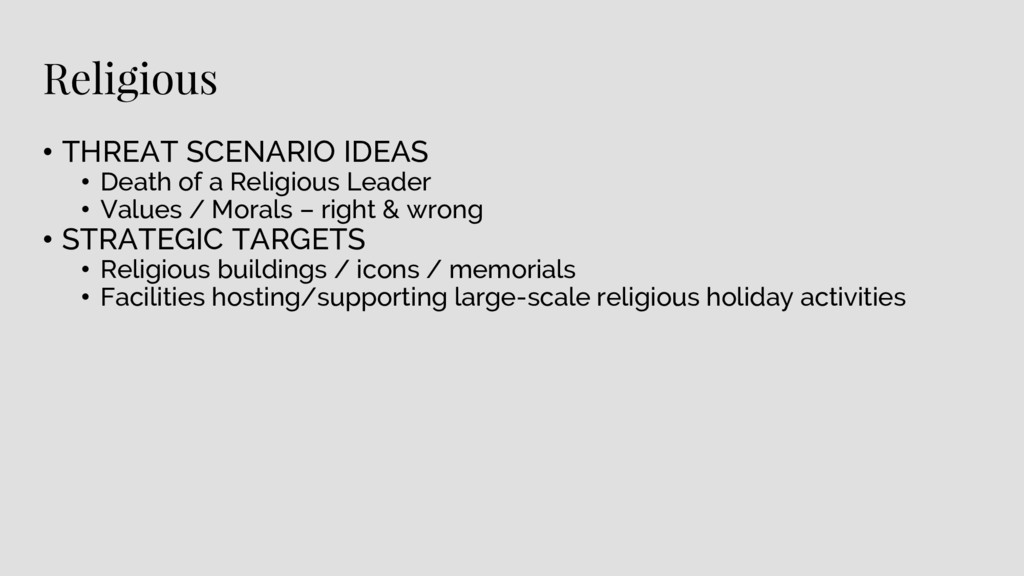 Religious • THREAT SCENARIO IDEAS • Death of a ...
