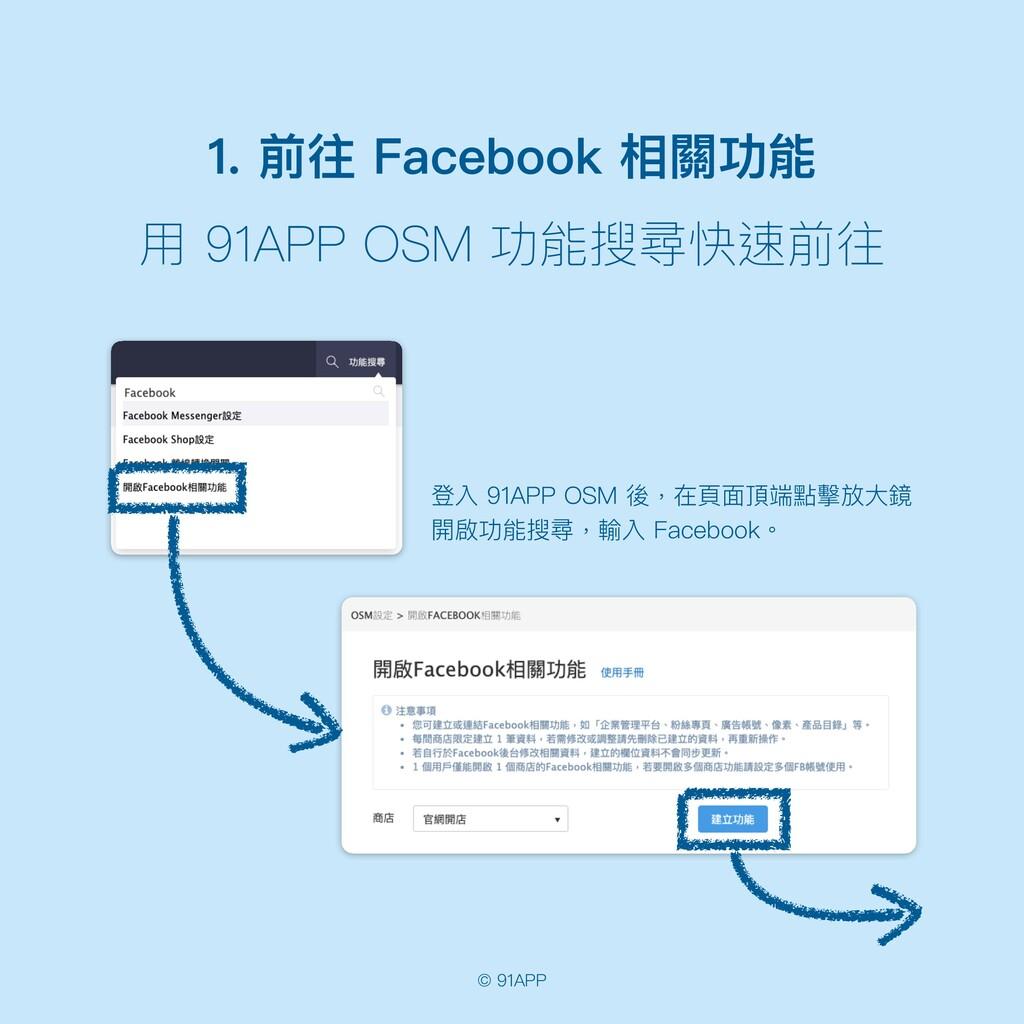 © 91APP 1. 前往 Facebook 相關功能 ⽤ 91APP OSM 功能搜尋快速前...