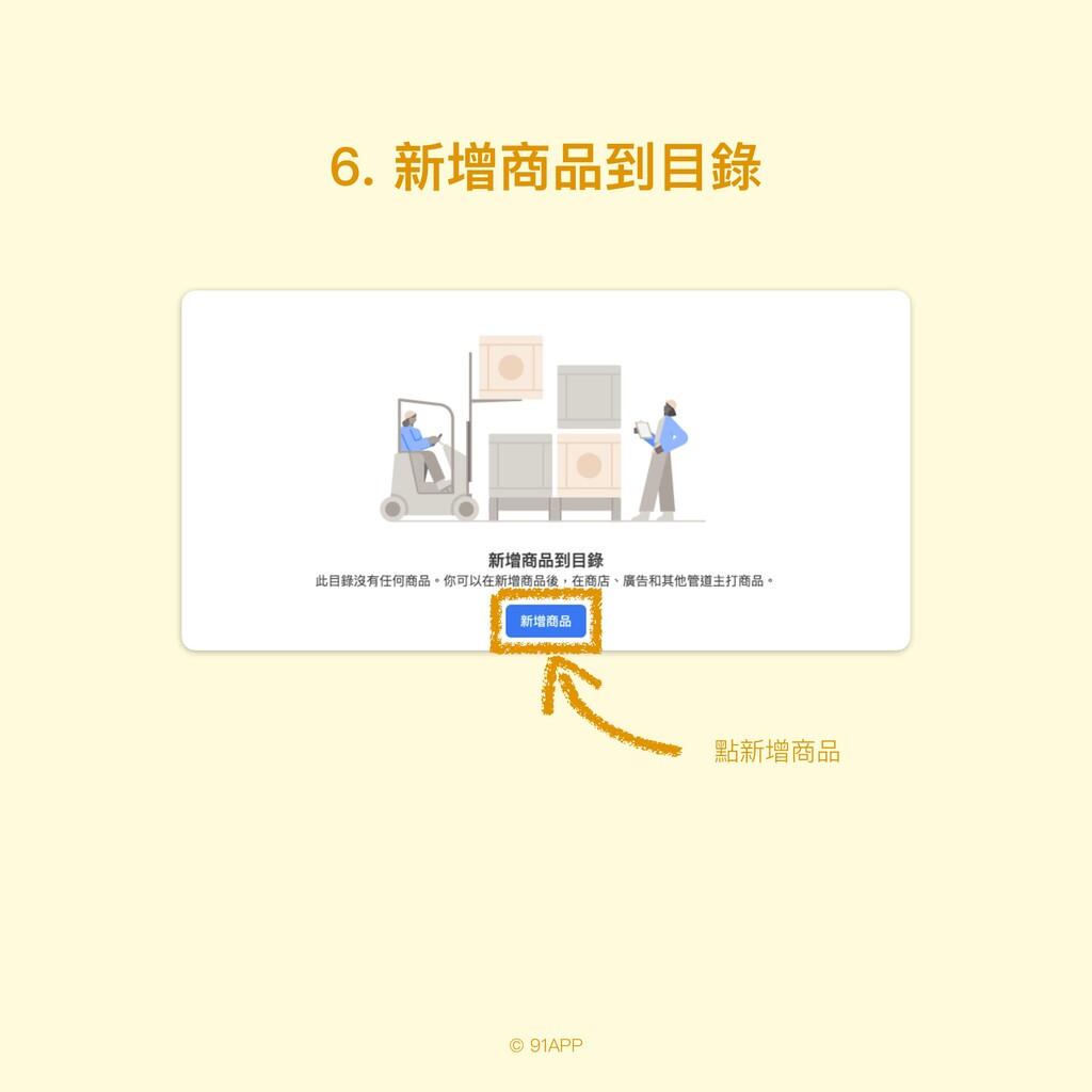 © 91APP 6. 新增商品到⽬錄 點新增商品