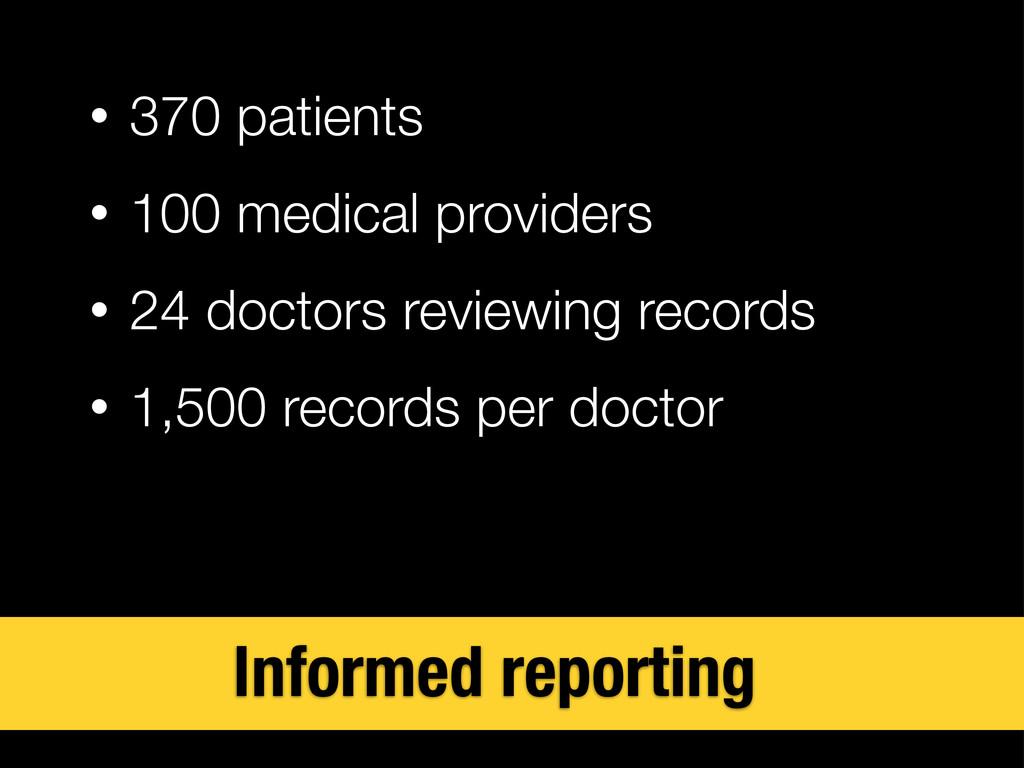 • 370 patients • 100 medical providers • 24 doc...
