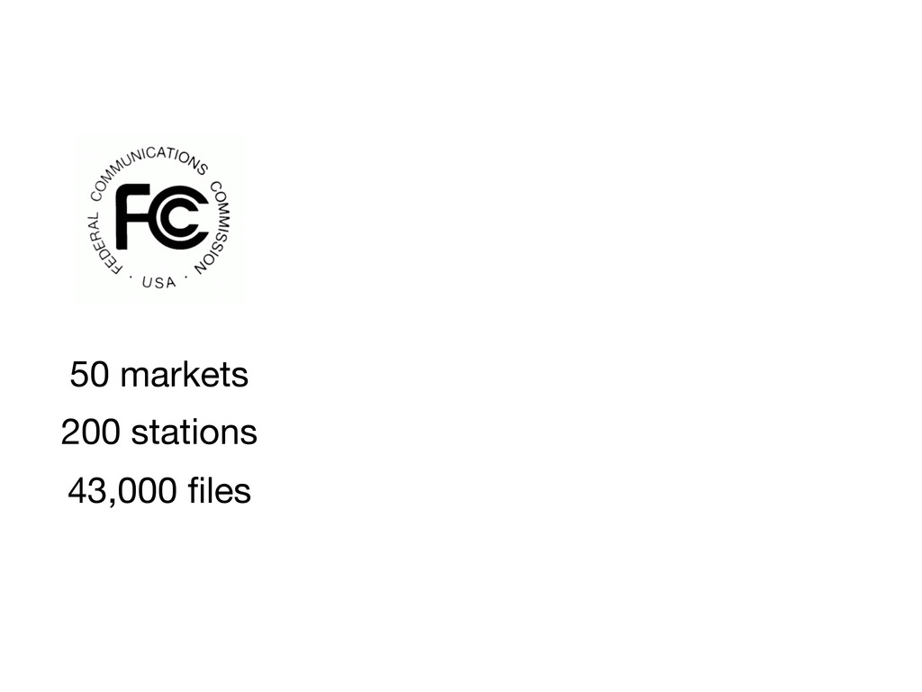 43,000 files 50 markets 200 stations
