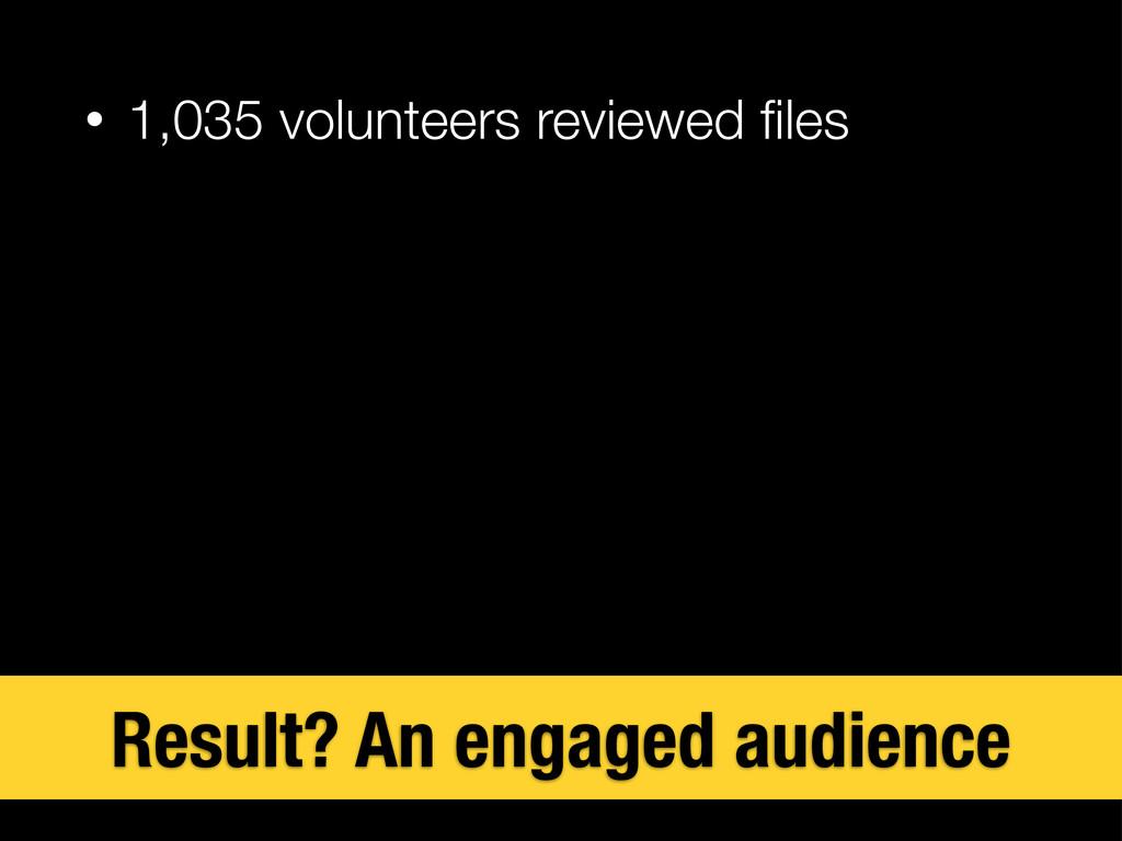 • 1,035 volunteers reviewed files Result? An eng...