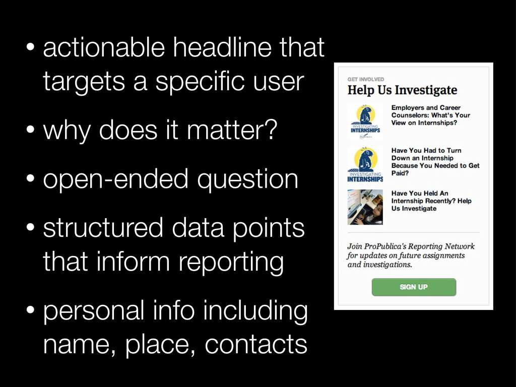 • actionable headline that targets a specific us...