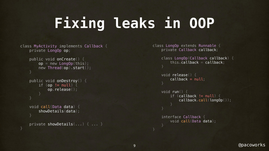 @pacoworks Fixing leaks in OOP class MyActivity...