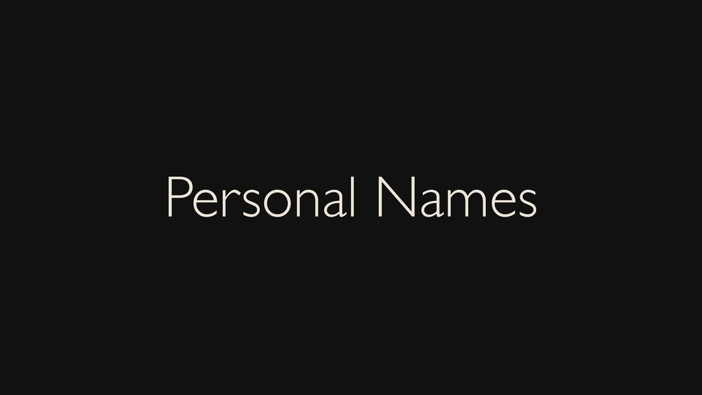 Personal Names