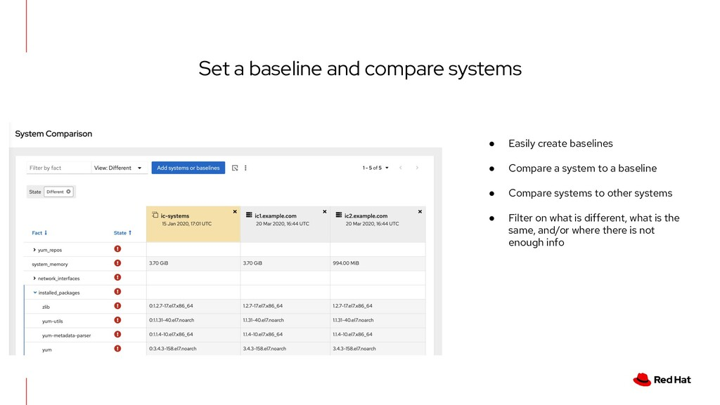 Set a baseline and compare systems ● Easily cre...