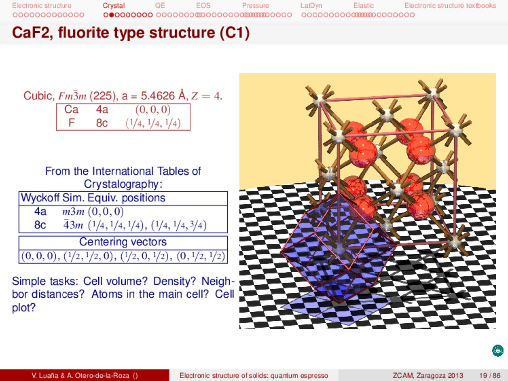 Electronic structure Crystal QE EOS Pressure La...