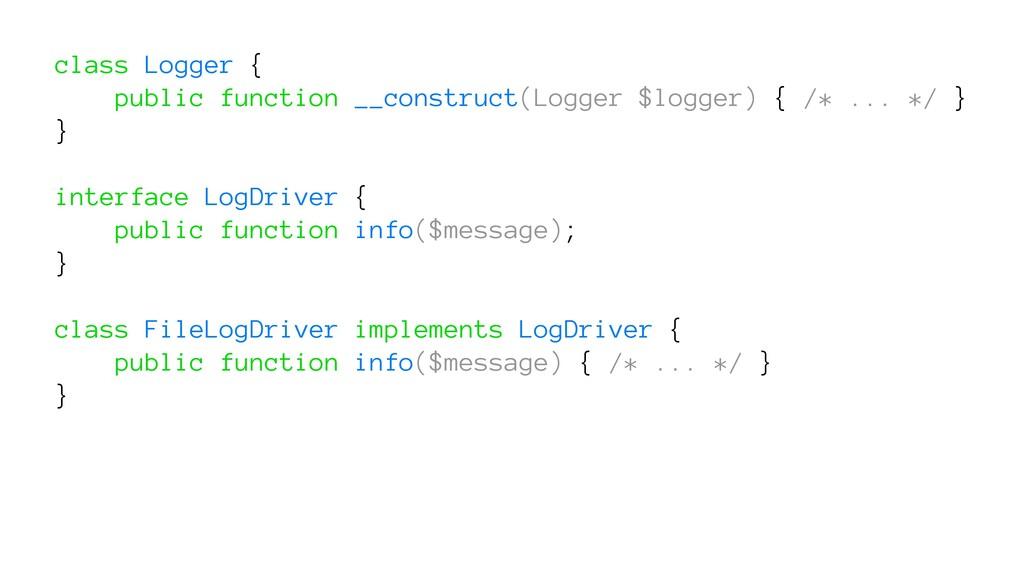 class Logger { public function __construct(Logg...