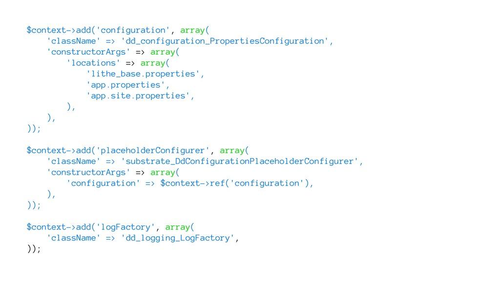 $context->add('configuration', array( 'classNam...