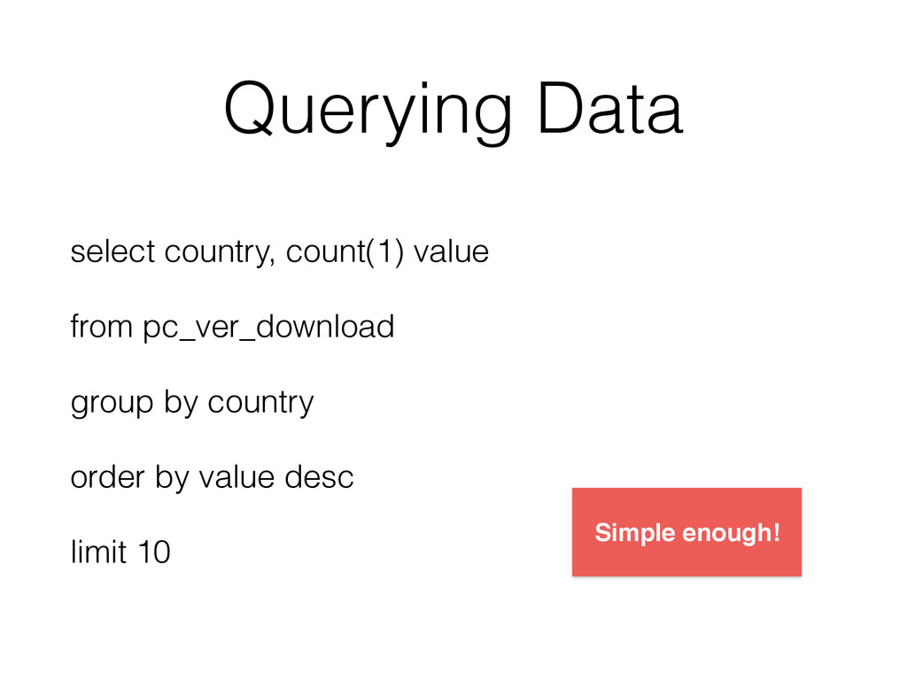 Querying Data select country, count(1) value fr...