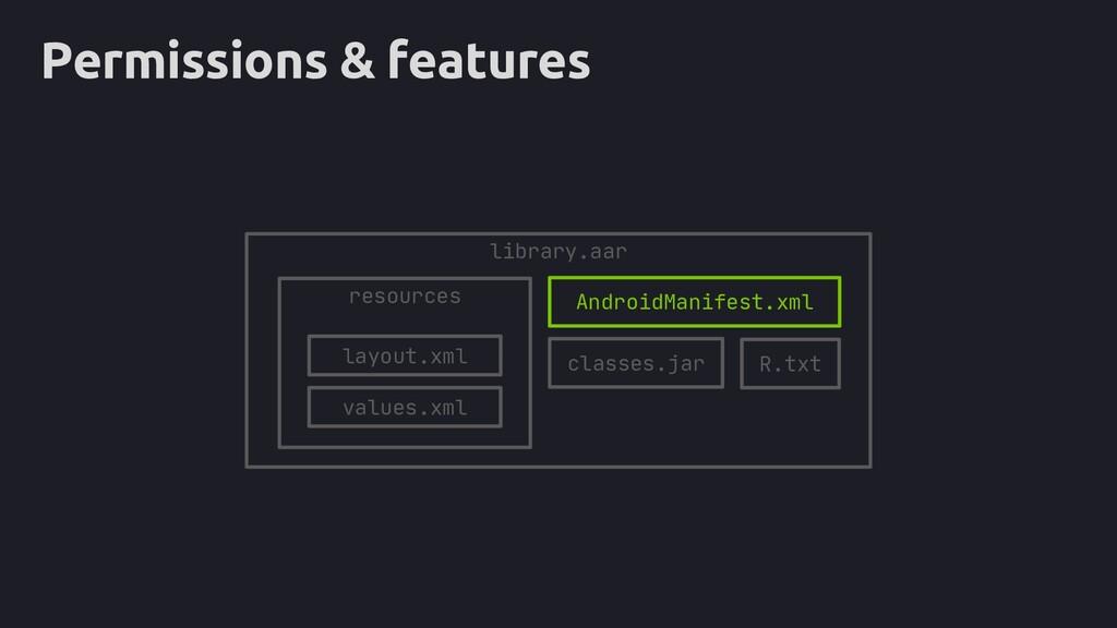 "Permissions & features <?xml version=""1.0"" enco..."