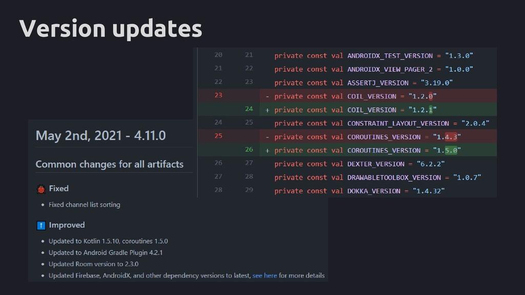 Version updates
