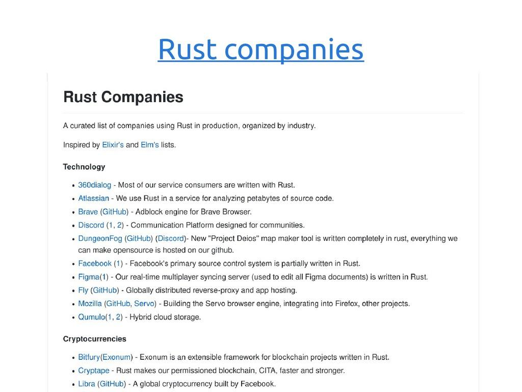 Rust companies