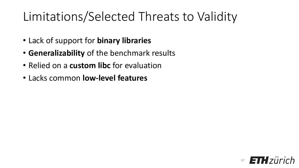 Limitations/Selected Threats to Validity • Lack...