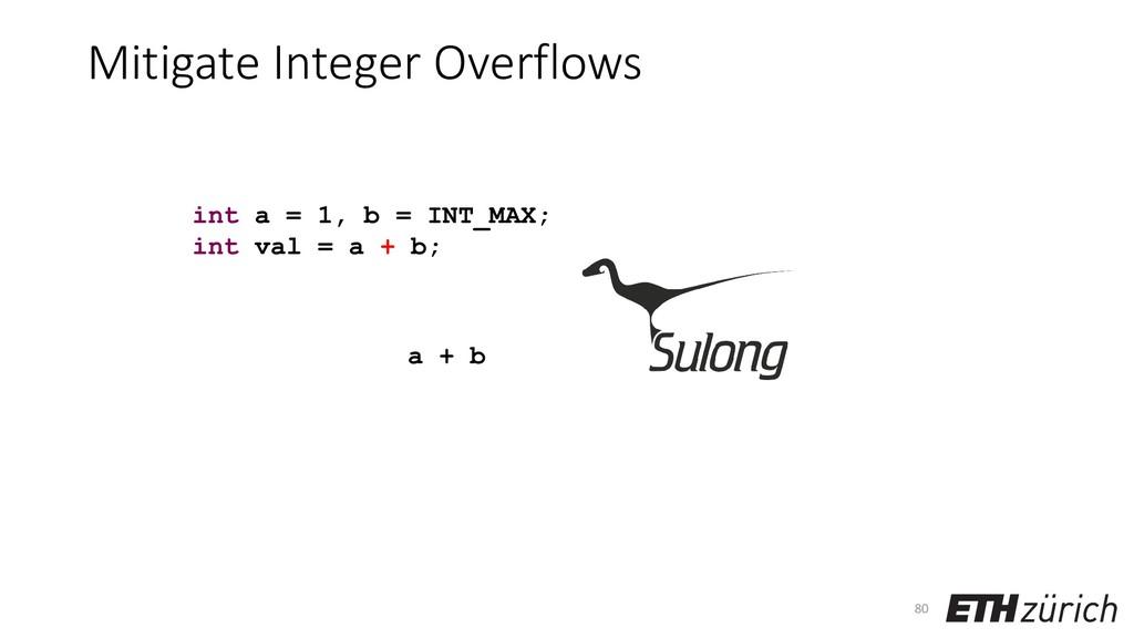 Mitigate Integer Overflows 80 int a = 1, b = IN...