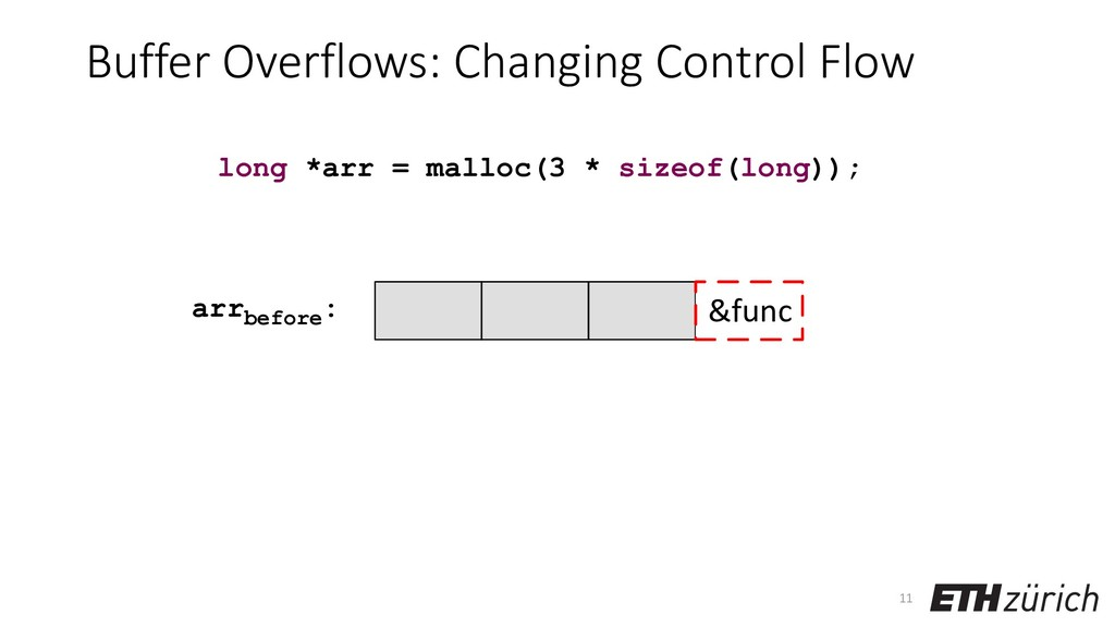 Buffer Overflows: Changing Control Flow 11 long...