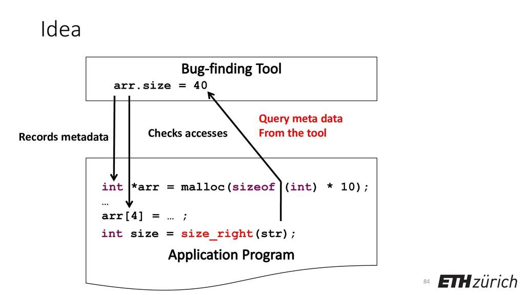 Idea 84 Records metadata int *arr = malloc(size...