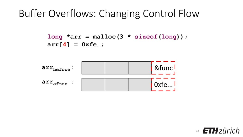 Buffer Overflows: Changing Control Flow 12 long...