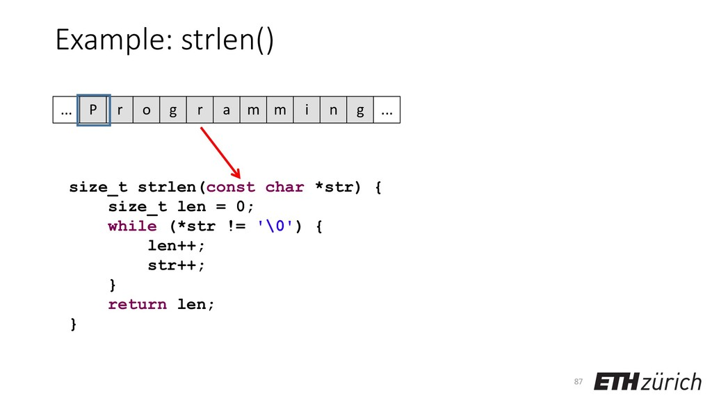 Example: strlen() 87 size_t strlen(const char *...