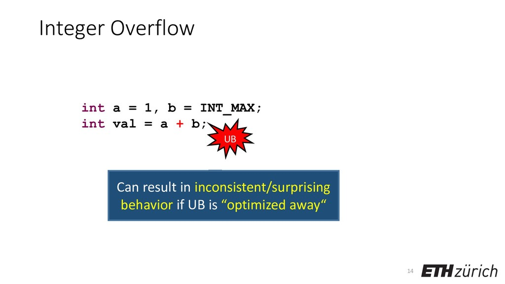 Integer Overflow 14 int a = 1, b = INT_MAX; int...