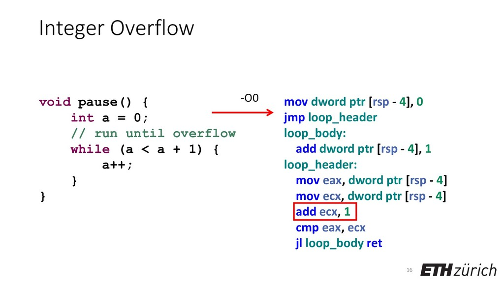 Integer Overflow 16 void pause() { int a = 0; /...