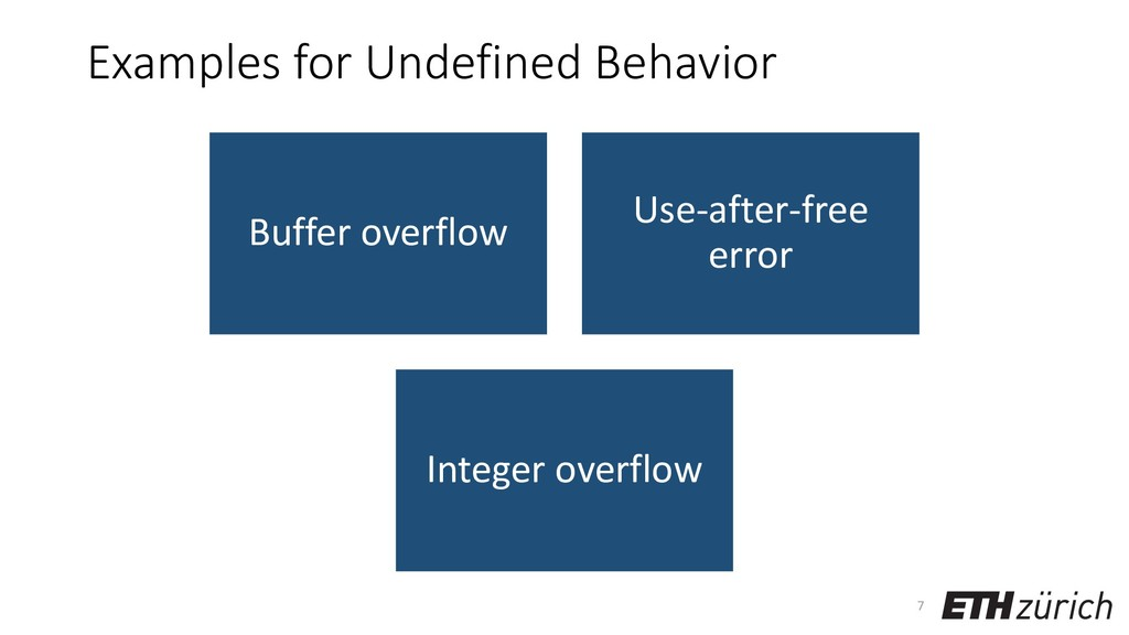 Examples for Undefined Behavior Buffer overflow...