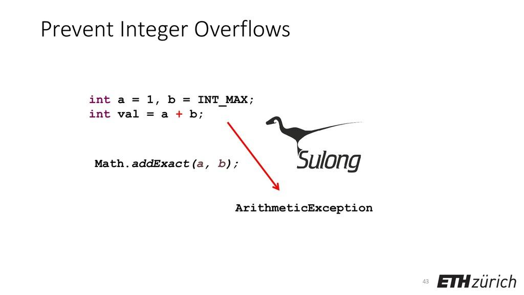 Prevent Integer Overflows 43 int a = 1, b = INT...