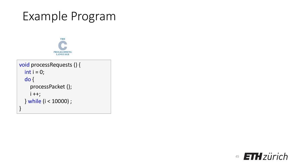 Example Program 45 void processRequests () { in...