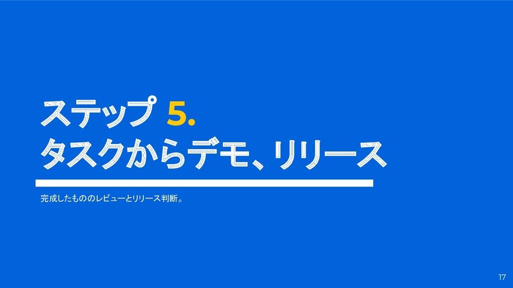 ステップ 5. タスクからデモ、リリース 17 完成したもののレビューとリリース判断。