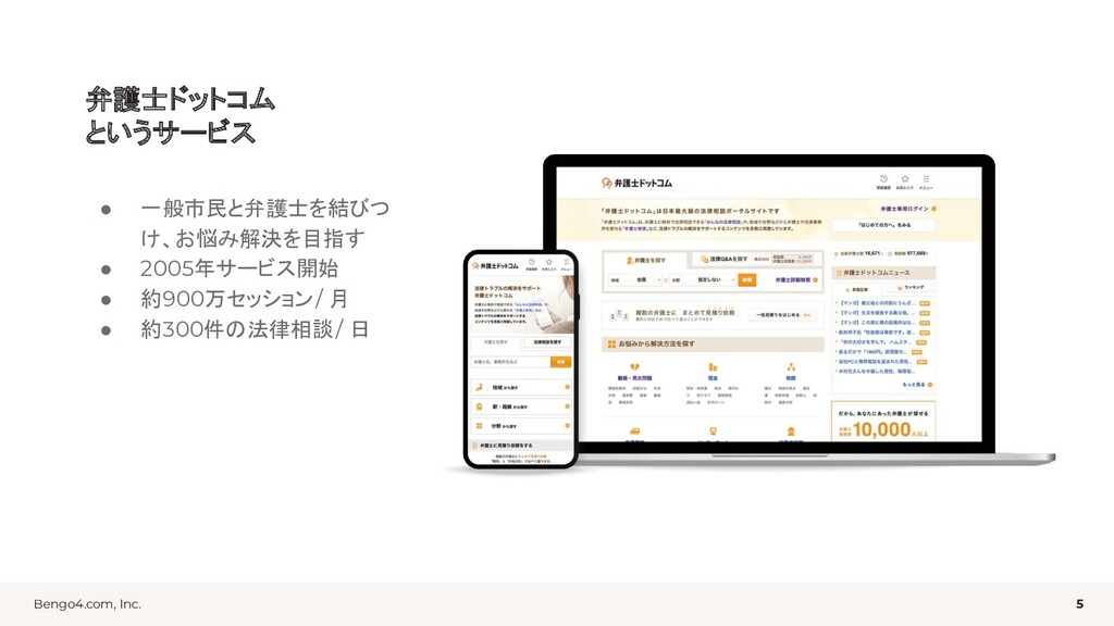 Bengo4.com, Inc. 弁護士ドットコム というサービス ● 一般市民と弁護士を結び...