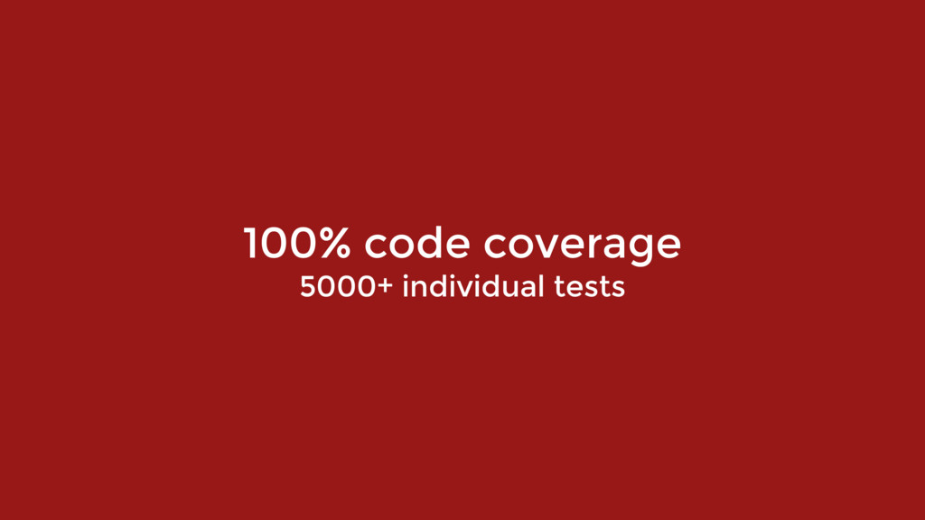 100% code coverage 5000+ individual tests