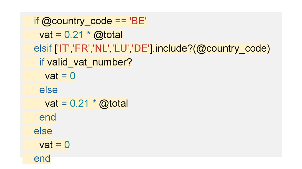 if @country_code == 'BE' vat = 0.21 * @total el...